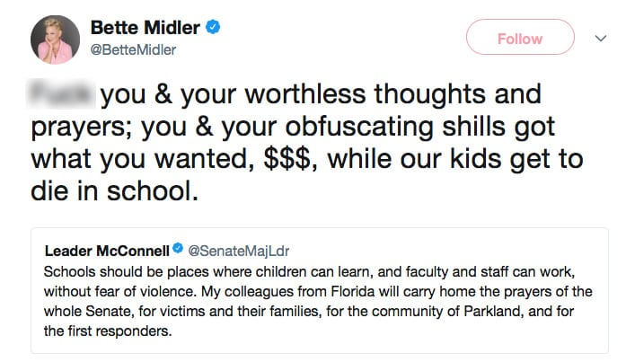 BETTE GOES BERSERK: Midler Says 'F*** YOU' to GOP Following Deadly SCHOOL SHOOTING