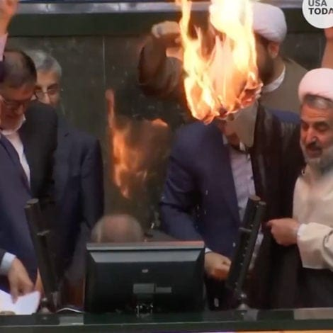 TEHRAN'S TANTRUM: Iranian Parliament BURNS US Flag, Chants 'Death to America'