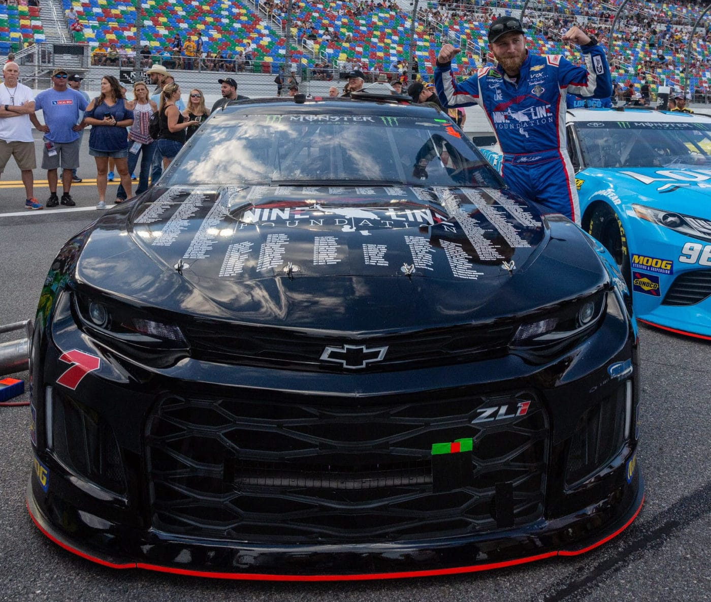 Jeffrey Earnhardt in front of his car, prior to the Daytona race