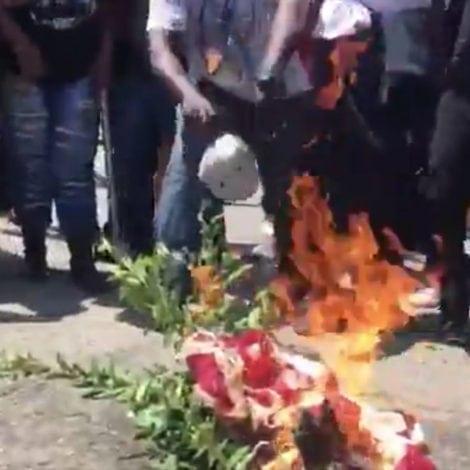 MAXINE MAYHEM: Supporters BURN US FLAG Outside Waters' LA OFFICE