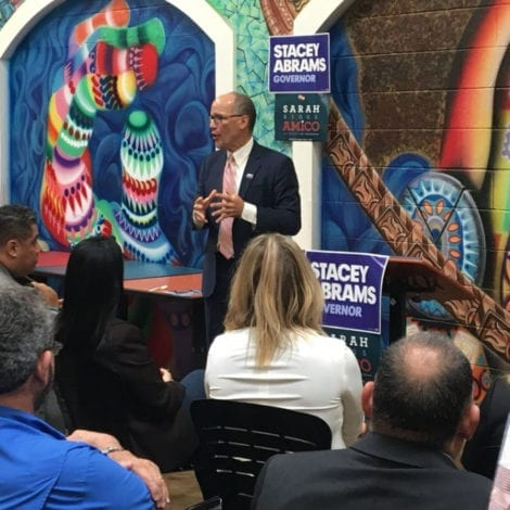 BLUE WAVE CRASHING: DNC Chief Delivers Address to EMPTY EVENT at Atlanta Mall