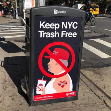 MAGA FREE NYC: Images of 'Trash' Trump Supporters Appear on Manhattan Garbage Cans