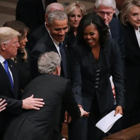 COMING TOGETHER: Trumps, Obamas, Clintons Unite for President Bush's Funeral
