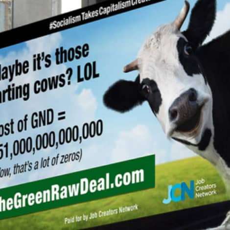 RAGE IN NYC: New Billboard SLAMS Cortez for 'Farting Cows' and Her 'Green Raw Deal'
