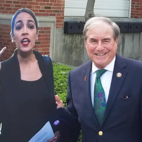 EPIC FAIL: AOC Slams 'Older Male' Republican for Posing with Her Cutout… It's Actually a Democrat