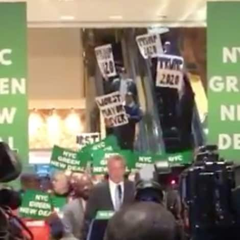 'WORST MAYOR EVER': Bill De Blasio MOCKED at 'Green New Deal' Rally Inside Trump Tower