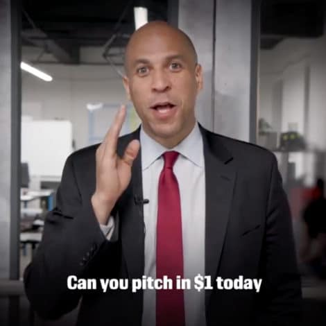 NOT A GOOD SIGN: Senator Cory Booker Begs Facebook Users for $1 to 'Help' His Campaign