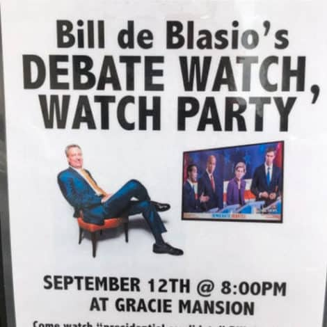 LIVE FROM NY! New Posters TRASH De Blasio's Campaign, Invites Voters to Join His 'Debate Watch Party'