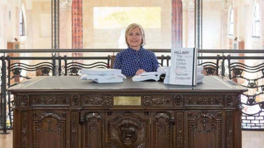 Partner Content - NEXT LEVEL SAD: Hillary Clinton Reads Her Emails Behind Replica of Oval ...
