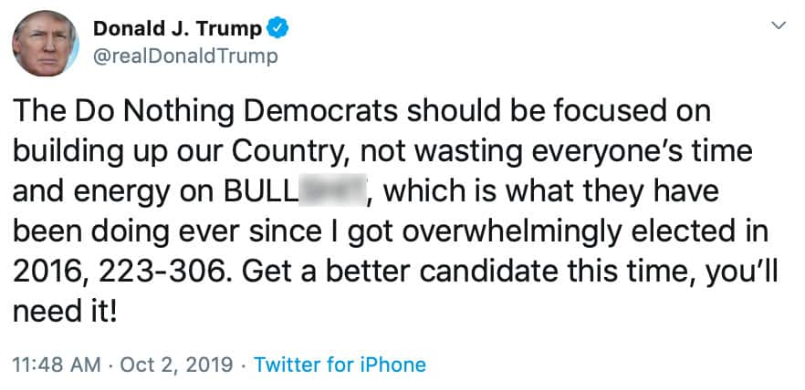 TRUMP STRIKES BACK: The President Slams House Democrats, Says Party 'Wasting Time' on 'BULLS**T'