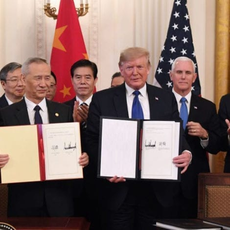 United States-China Sign Historic 'Phase One' International Trade Agreement