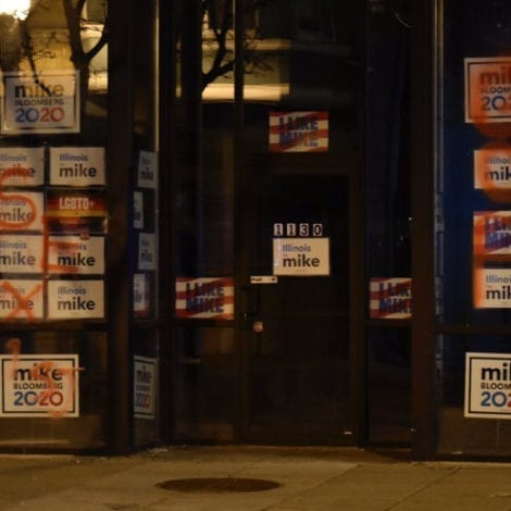 VANDALIZED! Bloomberg's Chicago Offices Covered in Graffiti, Campaign Blames Bernie Supporters