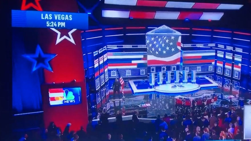 image for DEBATE DEBACLE: Dems Remove Sole US Flag on Stage During Las Vegas Democ...