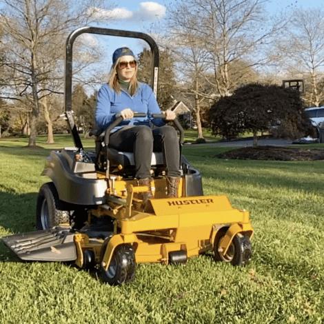 WATCH: Lynda Rides a Hustler Lawn Mower!