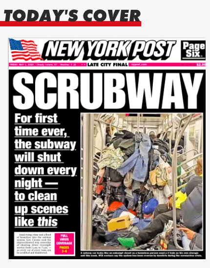 SUBWAY TAKES A SNOOZE: For First Time in History, NYC Subways Will Shut Each Night to Disinfect, Clean Trains