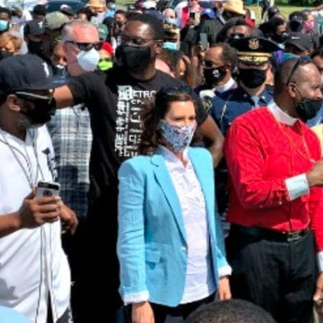 NEVER MIND: Michigan Gov Gretchen 'Lockdown' Whitmer Joins Protesters, Chants 'Hands Up, Don't Shoot!'