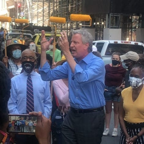 AS CRIME SPIRALS… De Blasio Says He's 'LIBERATING 5th AVENUE' With 'Black Lives Matter' Mural