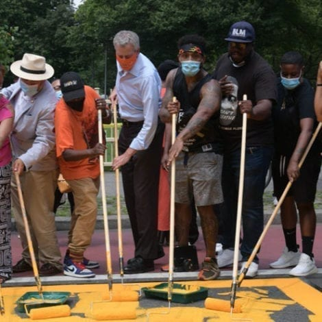HE'S ON IT! As Crime Surges Bill de Blasio Helps Paint ANOTHER 'Black Lives Matter' Mural in Queens