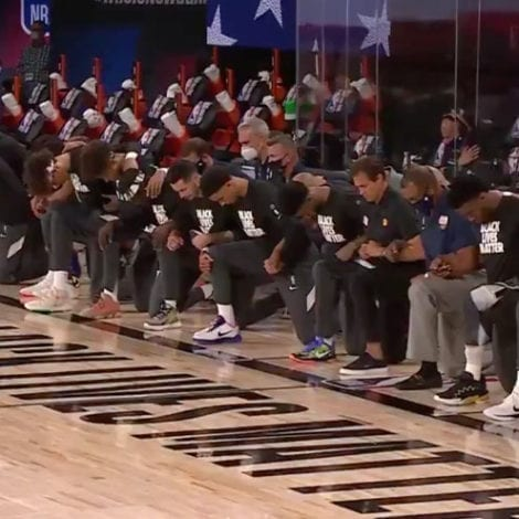NBA KNEELS: All Players 'Take a Knee' on the Court for National Anthem as Basketball Returns to USA