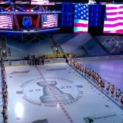 STANDING PROUD: NHL Players Stand Together in Solidarity During Performance of US National Anthem