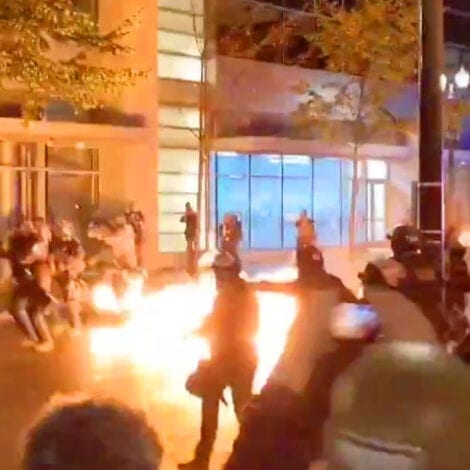 'ATTEMPTED MURDER': Portland Rioters Attack Police with Molotov Cocktail as City Explodes